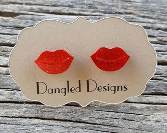 Sparkly Red Lip Earrings