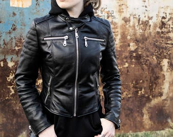 Womens Genuine Leather  Moto Biker Jacket