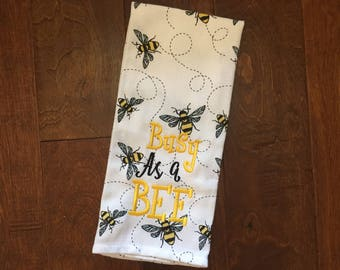Busy As a Bee //  Embroidered Bumblebee Kitchen Towel