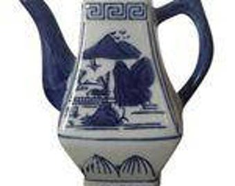 Blue and White Chinoiserie Teapot Vase