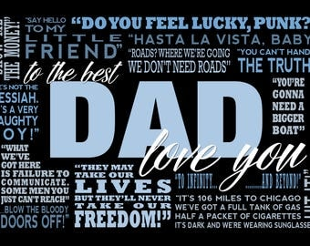 Favourite Movie Quotes Dad Canvas Word Art Canvas Print