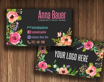 Business Cards , Fashion Consultant Card, Home Office Approved Fonts and Colors, 1-3 business days , Colored Flowers, size card