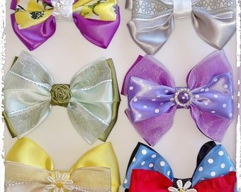 """Hair Bows Alligator Clip 2"""", Unique Design, Satin and Sheer, 100% Handmade, Different colors aval., 3 3/4""""x3"""" aprox."""