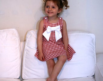 Gingham red 2-3 years model unique trapeze dress