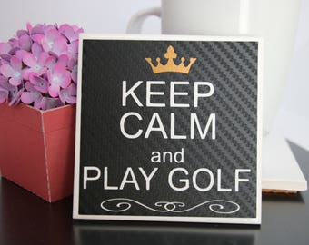 Keep Calm and Play Golf Coaster, Carbon Fibre effect coaster, Drink Coaster