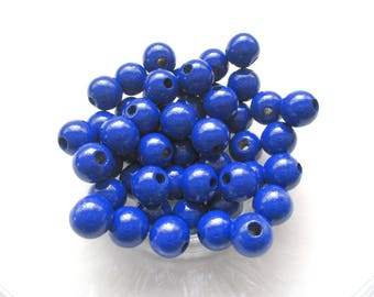50 wooden pacifier clip 10 mm - dark blue beads