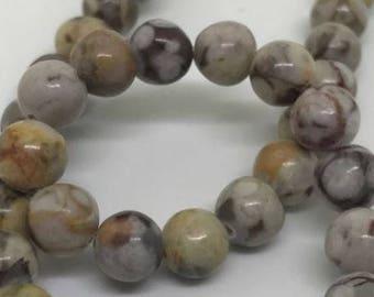 Stone Beads - Natural Choc Swirl Quartz - 62 pieces - 6mm - Bead Supplies