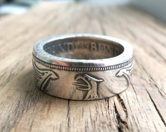 German 5 Deutsche Silver Marks Coin Ring - Coin ring Germany - German 5 Marks - Handmade Rings from Coins - Souvenir from Germany