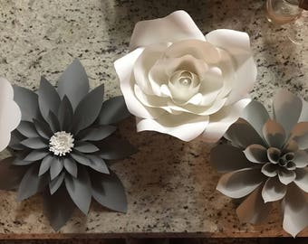 White and Grey paper flower set of (4)