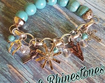 Rustic Cowgirl Charm Bracelet