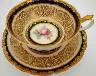 PARAGON Tea CUP and SAUCER Set ~ Lots of Gold! Roses England Bone China Teacup
