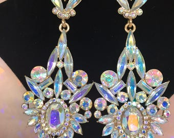 Crystal Chandelier Earrings Auroura Crystals  Gold  3 1/2 Inch Length