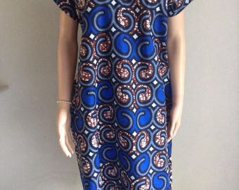 Dress 36/38/40/42/44/46/48/50 certified African printed multicolored