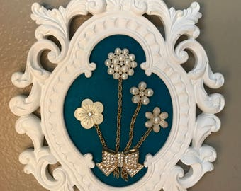Jeweled Flowers on Turquoise Felt with Ornate Frame