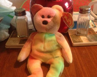 Very Rare Pastel colored Beanie Baby Garcia the Bear