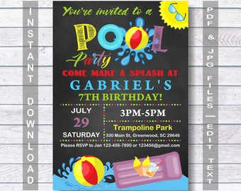 Pool Invitation, For Boy,  Pool party Invitation, Pool Birthday Invitation, Pool Birthday, swimming party, summer party, sun, Pool