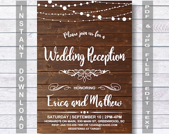 wedding reception invitation instant download rustic wedding reception invitation wedding reception wooden - Wedding Reception Invitations