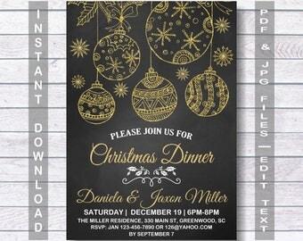 Christmas Dinner Invitation, Christmas Dinner, Christmas Party,  Instant Download, chalkboard