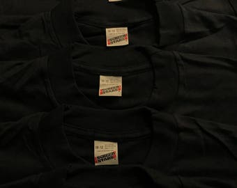 Lot of 5 Vintage Screen Stars shirts // youth 50/50 blend // paper thin blank deadstock t-shirt // kids black 10-12 // made in usa