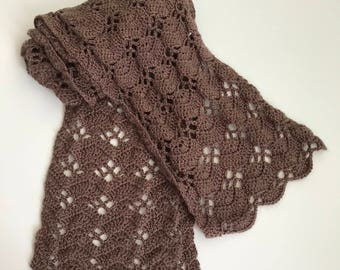 Ready to Ship Scarf, Shell Pattern Scarf, Handmade Scarf, Crochet Scarf, Women's Accessories, Soft Scarf, brown scarf.