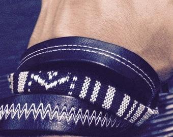 Men black bracelet, Gay bracelet, black& white bracelet, Unique bracelet, fashion bracelet, Leatherette men bracelet