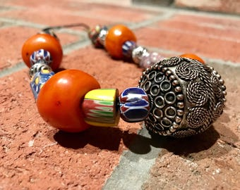 Moroccan filigree vintage silver & Millefiori Antique Venetian Glass Chevron beads Leather cord necklace.