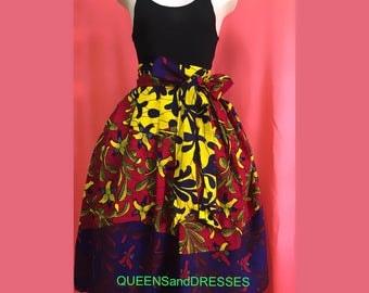 Multicoloured  ankara midi skirt with front sash and pockets. Ankara  fashion .african wear.