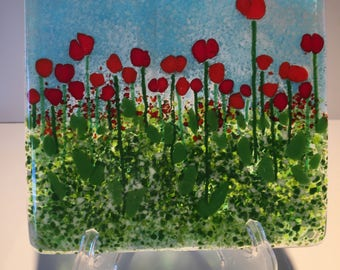 Small Red Poppies Handmade Fused Glass Panel