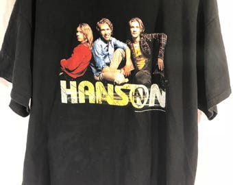 Vintage 90s 2000 Hanson Band T-Shirt Mens XL Black Concert Tour Brothers MMM Bop