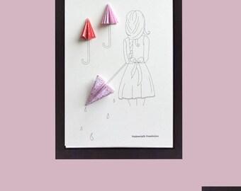 Illustration A4 origami, little girl in the rain