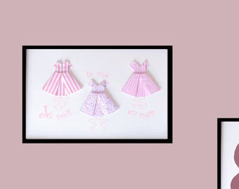 Illustration A4 origami dresses, I see life in pink, child's room decor