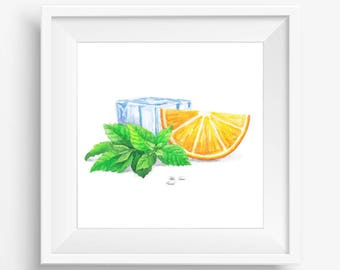Orange Printable, Mint and Ice print, Watercolor printable, Kitchen Prints Art, Watercolor Painting, Food Art, Kitchen decor, Wall Art print
