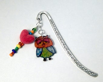 OWL bookmarks engraved silver metal, beads and heart