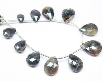 "Natural Grey Sapphire Faceted Pear Drop Gemstone Craft Loose Beads Strand 6"" 10mm 20mm"