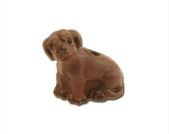 Chocolate Lab Ceramic Beads - Dog Charm - Small Lab Bead - Dog Jewelry - Chocolate Lab Charm - Dog Beads - USA Seller - 12mm