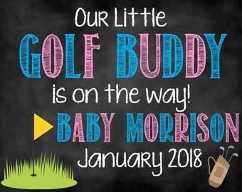 Golfing Buddy Pregnancy Announcement, Golf Buddy, Pregnancy Announcement, Golf Pregnancy