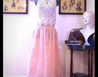Vintage Peach polka dot skirt
