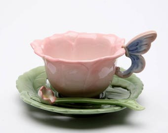 Rose Cup, Saucer and Spoon 6 Pieces Set (20854)