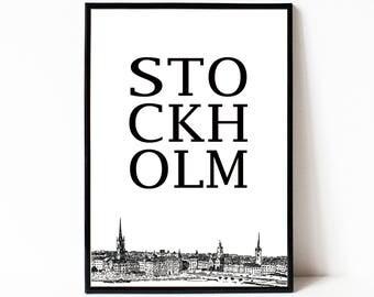 Stockholm wall art poster, Stockholm printable art, instant download city print, black and white Stockholm wall decor, modern minimalist