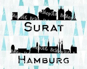Surat City SVG, Hamburg SVG, Cities SVG, India Svg, Germany Svg, Instant download, Eps - Dxf - Png - Svg