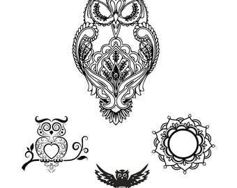 Owl SVG - Owl Mandala SVG - Mandala SVG - Digital Cutting File - Graphic Design - Cricut Cut - Instant Download - Svg, Dxf, Eps, Png