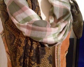 Shawl in cotton printed three patterns