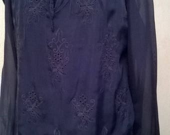 Blue embroidered silk and lace tunic