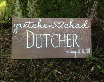 Custom Wedding Sign, Name and Date Sign, Rustic Wood Sign