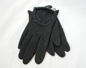 1960s Beaded Driving Gloves // Embellished Driving Gloves // Femme Fatale // 60s Driving Gloves // Witchy Gloves // Vintage Gloves / Goth