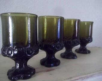 Vintage glassware, Mid Century water goblets, Wine goblets, collectible glassware