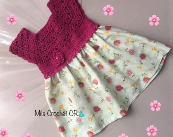 Girl dress fabric crochet with the head attachment