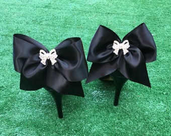 Large black satin bow with tails, beautiful Rhinestone bow center