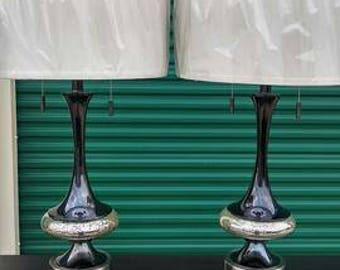 2 Piece Matching Contemporary Lamp Set - Silver