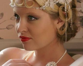 Lace, pearl and diamante forehead tiara